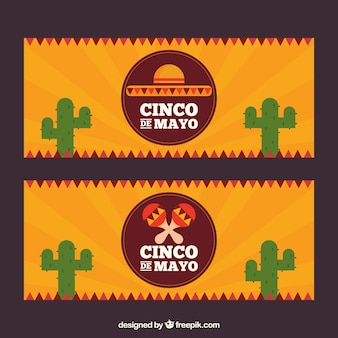 sunburst banners with cactus for cinco de mayo