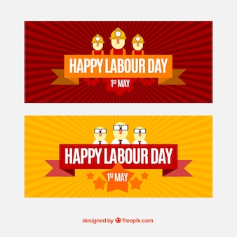 Sunburst banners with flat workers for labour day