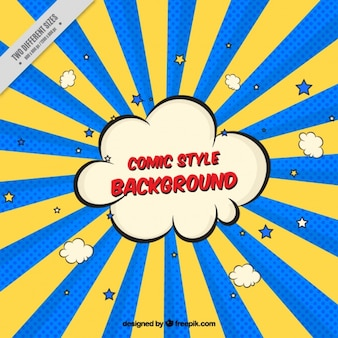 Sunburst colored background with cloud comic