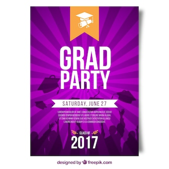 Sunburst graduation party flyer in purple tones