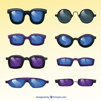Sunglasses collection in purple an black tones