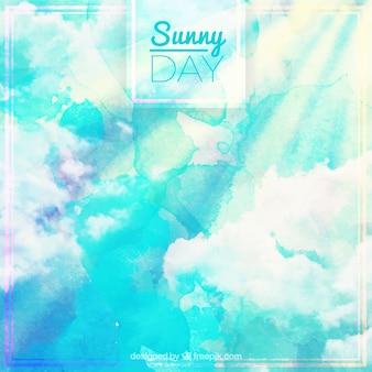 Солнечный день фон акварель