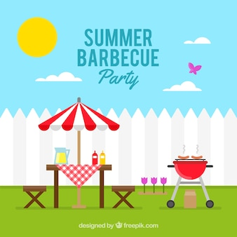 Sunny day with a barbecue party background