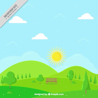 Sunny spring landscape background with a bench