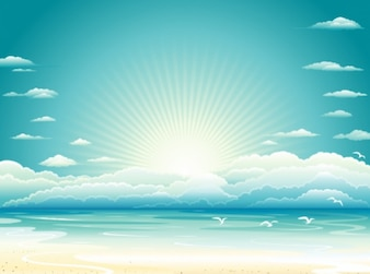 Sunrise beach with clouds background