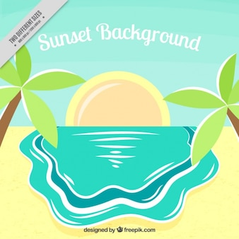 Sunset background in flat style