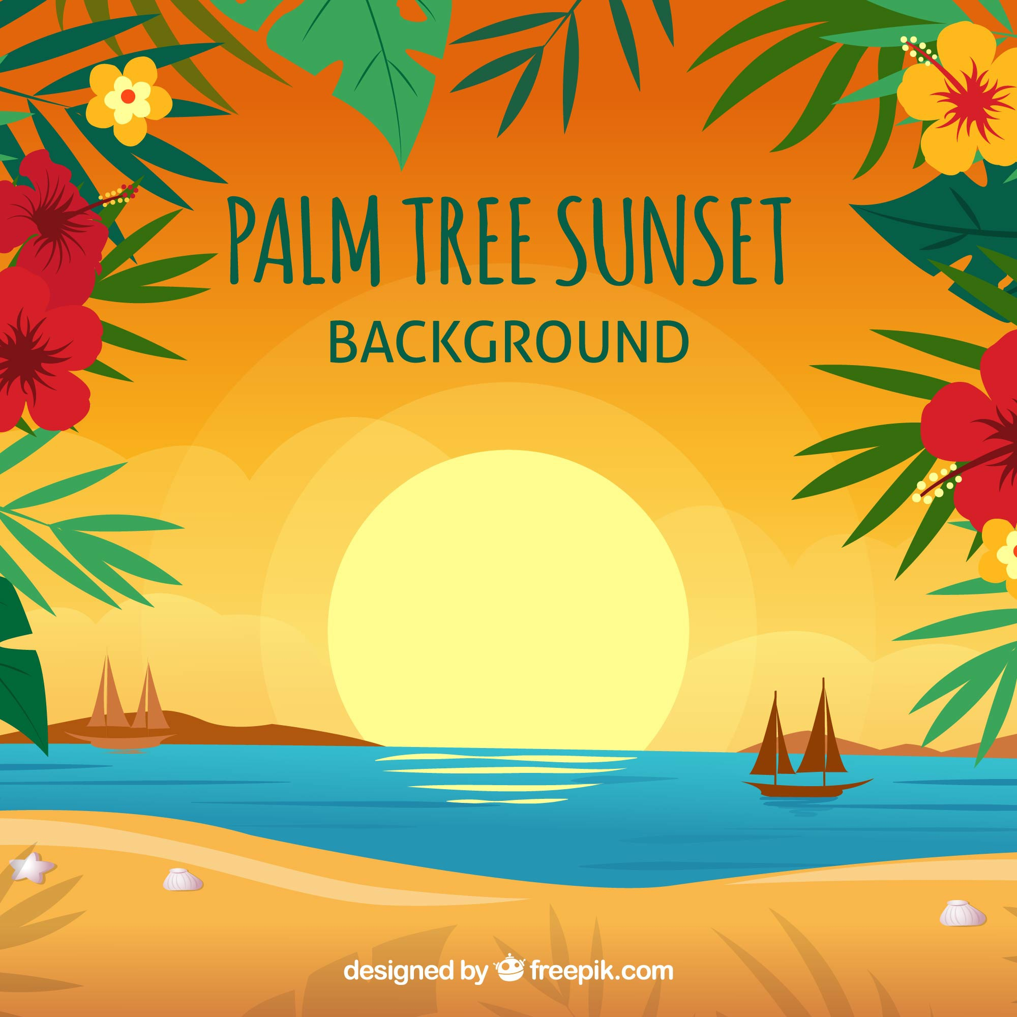 Sunset background on the beach with floral decoration