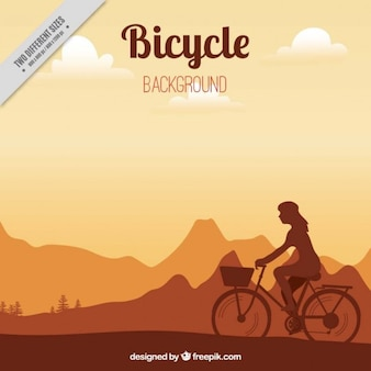 Sunset background with a bicycle
