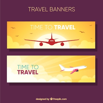 Sunset banners with airplane