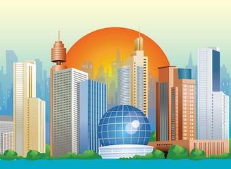 Sunset City Vector