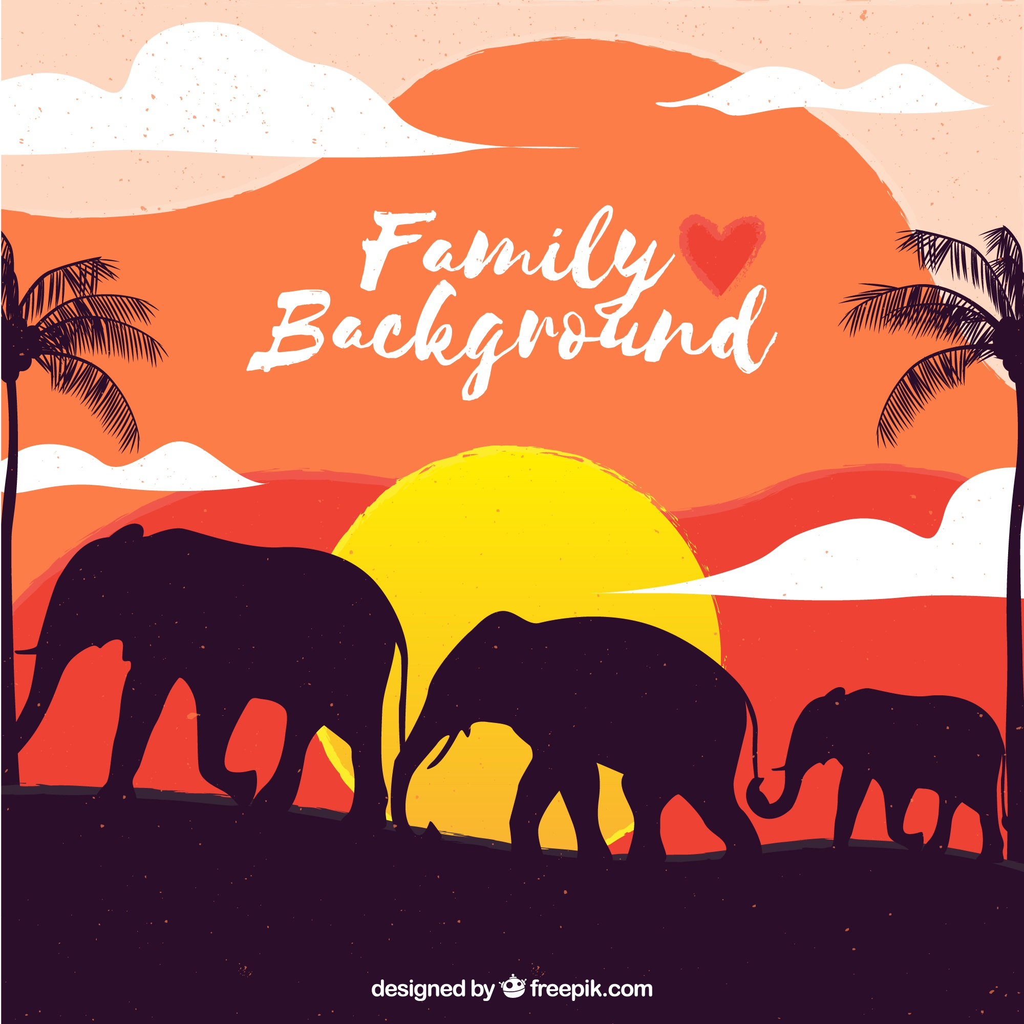 Sunset elephant family background
