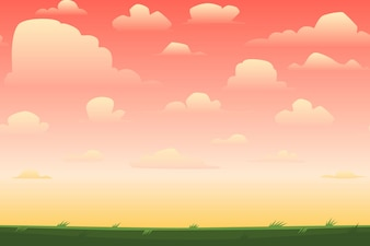 Sunset in cartoon landscape