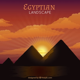 Sunset in the egyptian pyramids