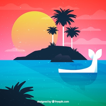 Sunset island background with whale