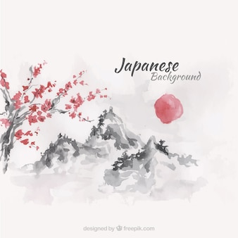 Sunset japanese landscape background in watercolor effect