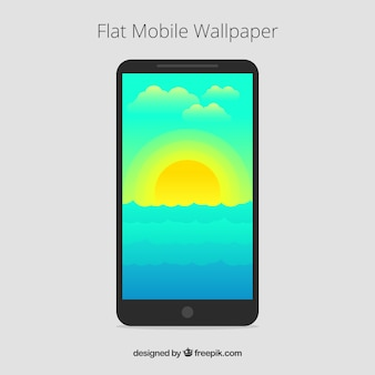 Sunset mobile wallpaper in flat design