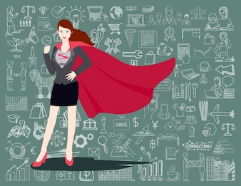 Super businesswoman background