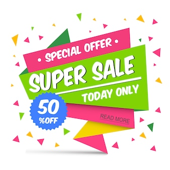 Super Sale with Attractive Pink and Green Color Banner Design