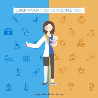 Super woman doing multiple task