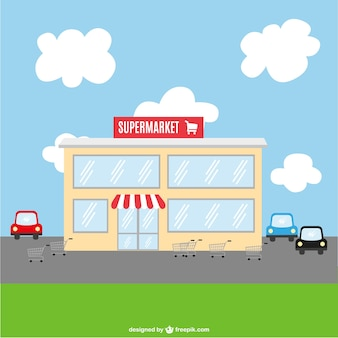 Supermarket building and parking