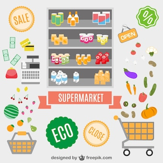 Supermarket essentials set with food and cleaning products