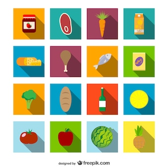 Supermarket food icons set
