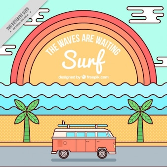 Surf background with sunset and caravan in linear style