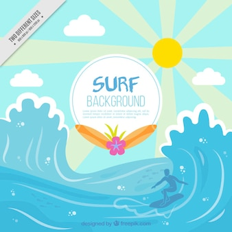 Surf background with waves
