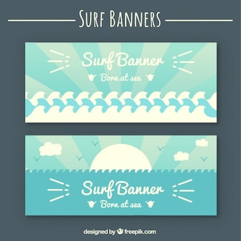Surf banners in flat style