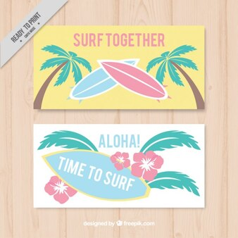 Surf banners with palm trees and flowers