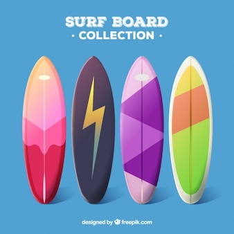 Surfboard types in colors