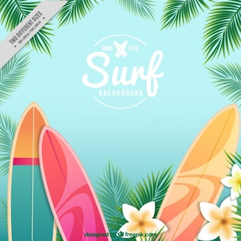 Surfboards and flowers background