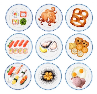 Sushi and other types of food on plates illustration