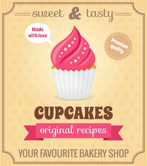 Sweet and tasty food dessert original recipe cupcake retro poster vector illustration