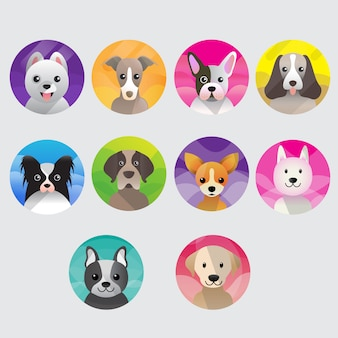 Sweet dogs icon collection