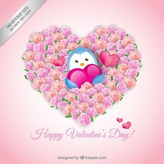 Sweet penguin valentine background