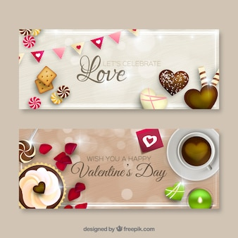 Sweet Valentines day banners