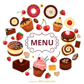 Sweets menu vector template