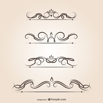 Swirl vector text dividers graphic elements