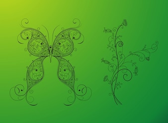 Swirly nature floral designs vector
