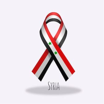 Syria flag ribbon design
