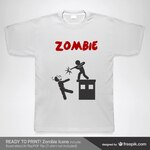 T-shirt man shooting a zombie