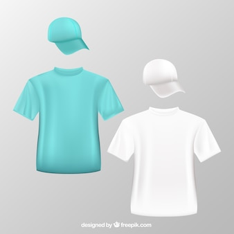 T shirts and baseball caps