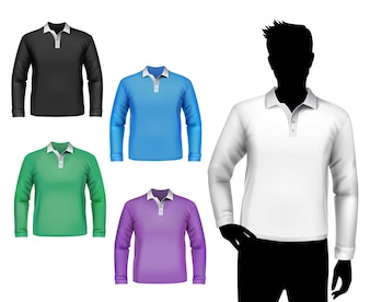 T-shirts male polo long sleeve set