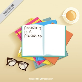 Table background with books and glasses
