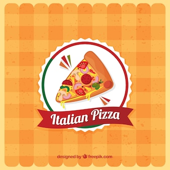 Tablecloth background with pizza logo