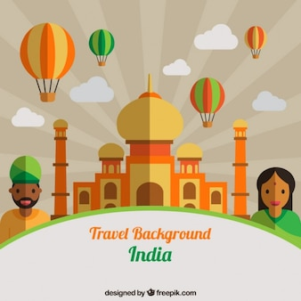 Taj mahal in flat design with indian people and ballons background