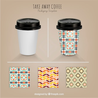 Take away coffe with different patterns