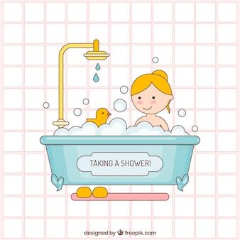 Taking a Bath Illustration