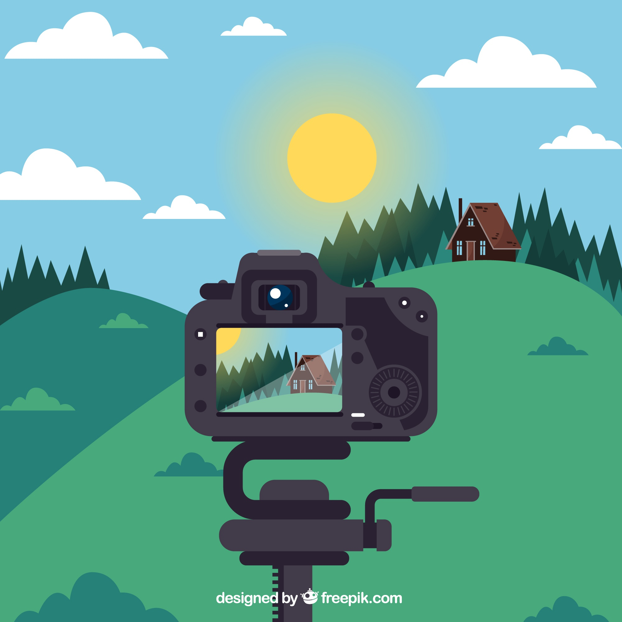Taking a picture illustration